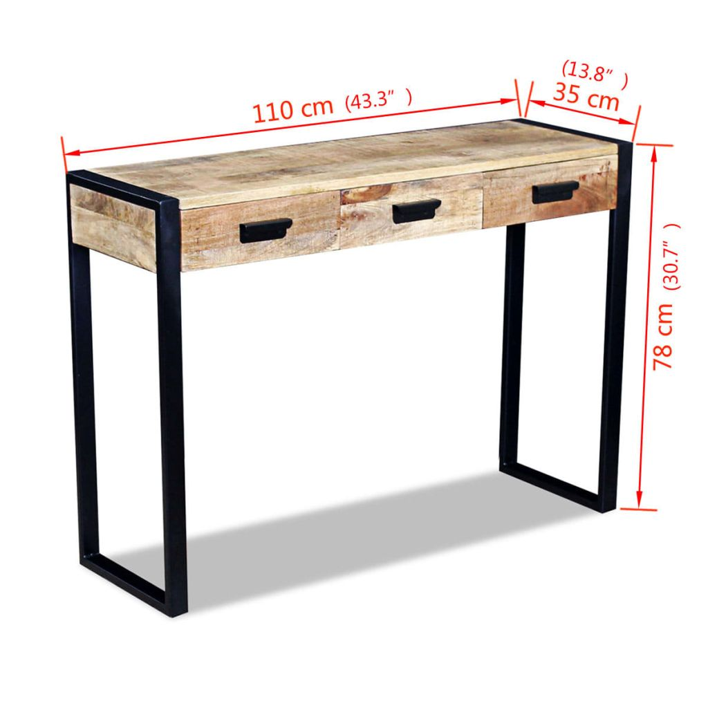 Console Table with 3 Drawers Solid Mango Wood 110x35x78 cm 8