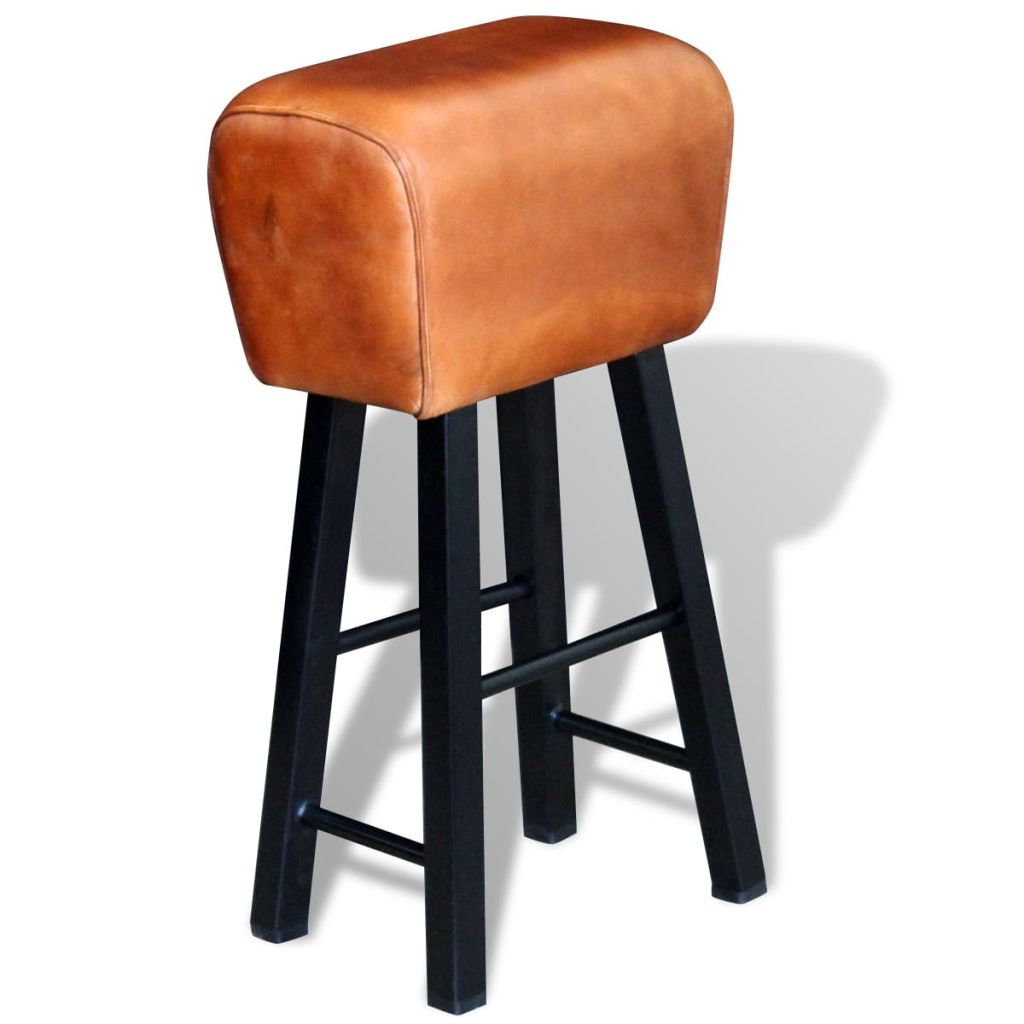 Bar Stool Black and Brown Real Leather 1