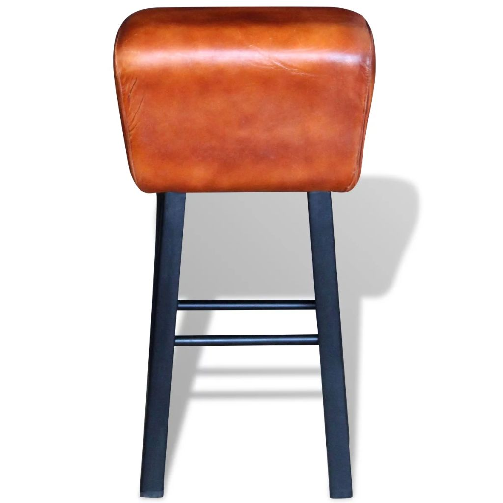 Bar Stool Black and Brown Real Leather 2