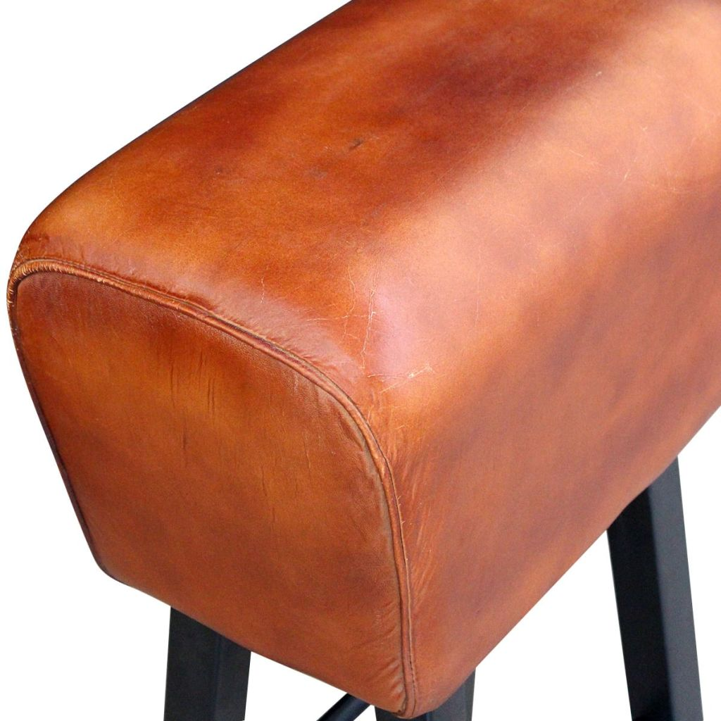 Bar Stool Black and Brown Real Leather 3