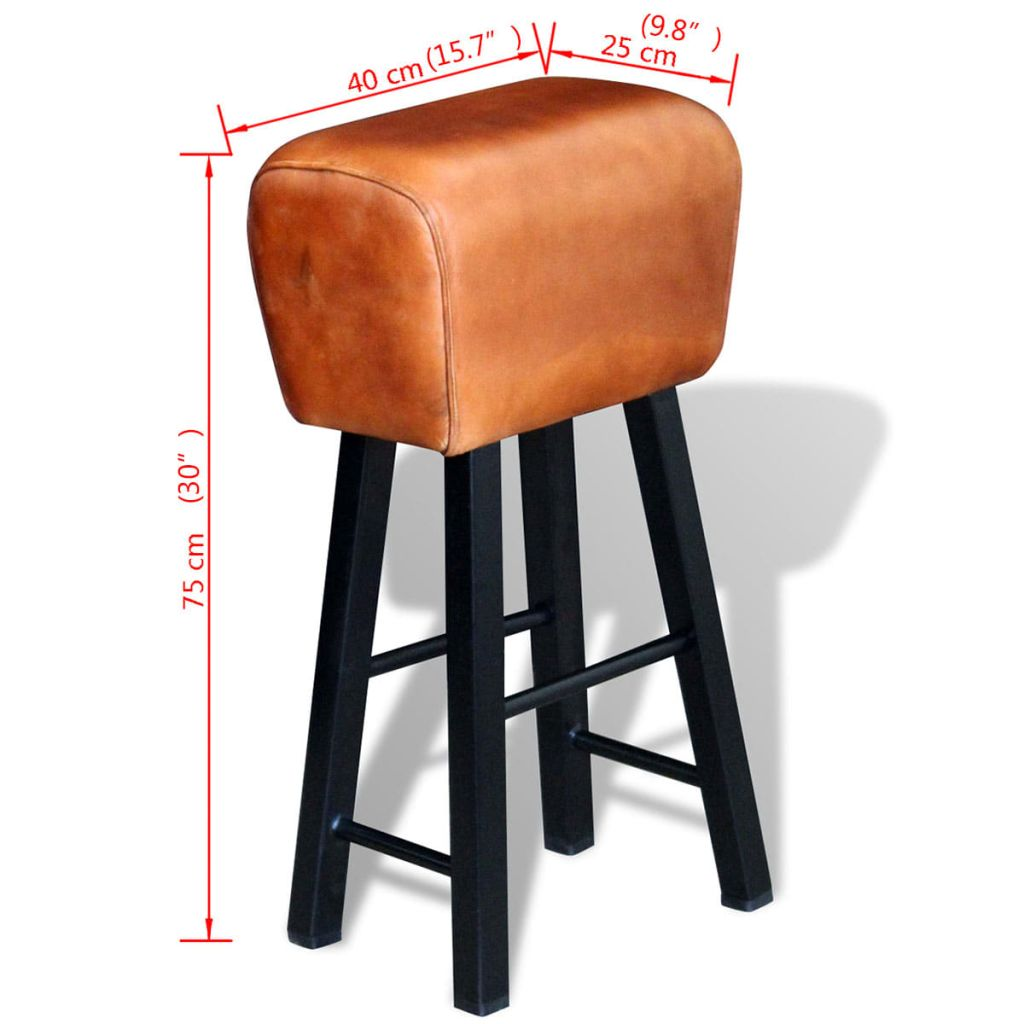 Bar Stool Black and Brown Real Leather 4