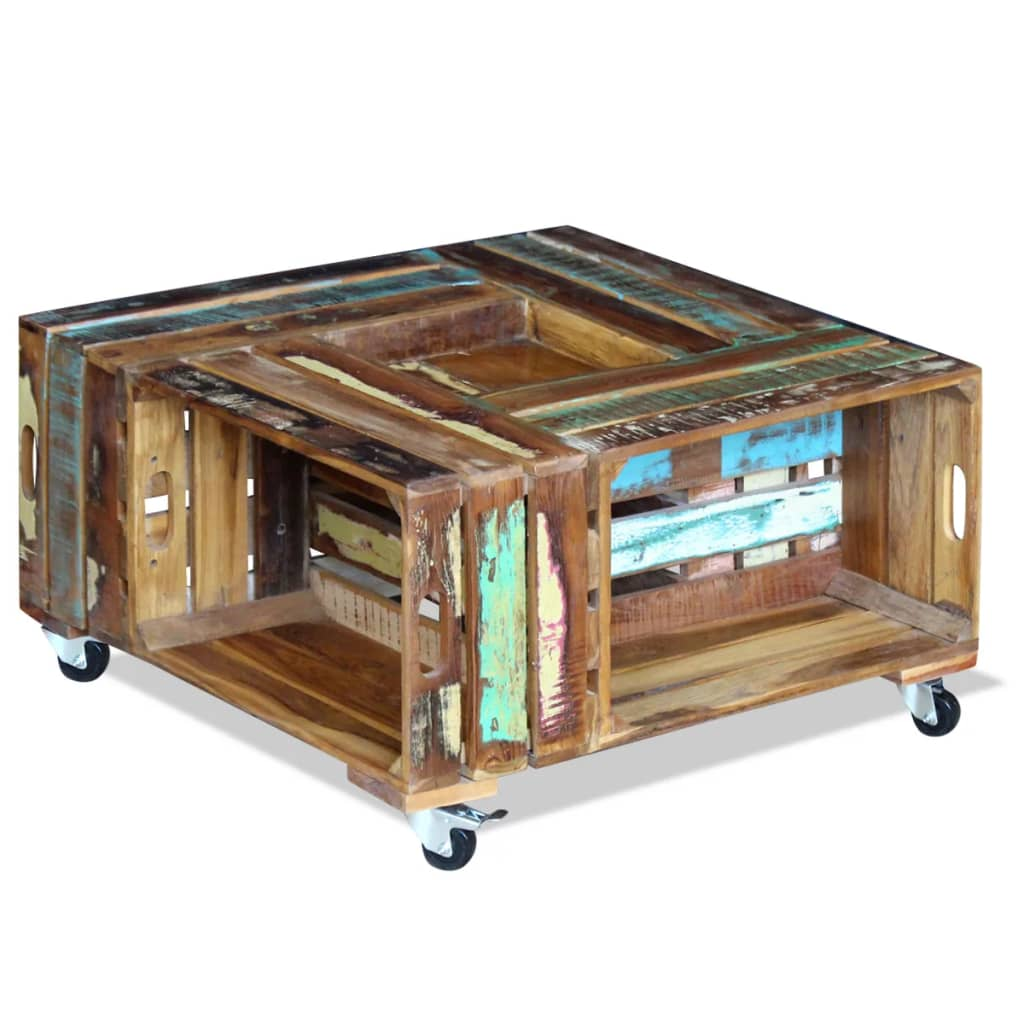 Coffee Table Solid Reclaimed Wood 70x70x35 cm 1