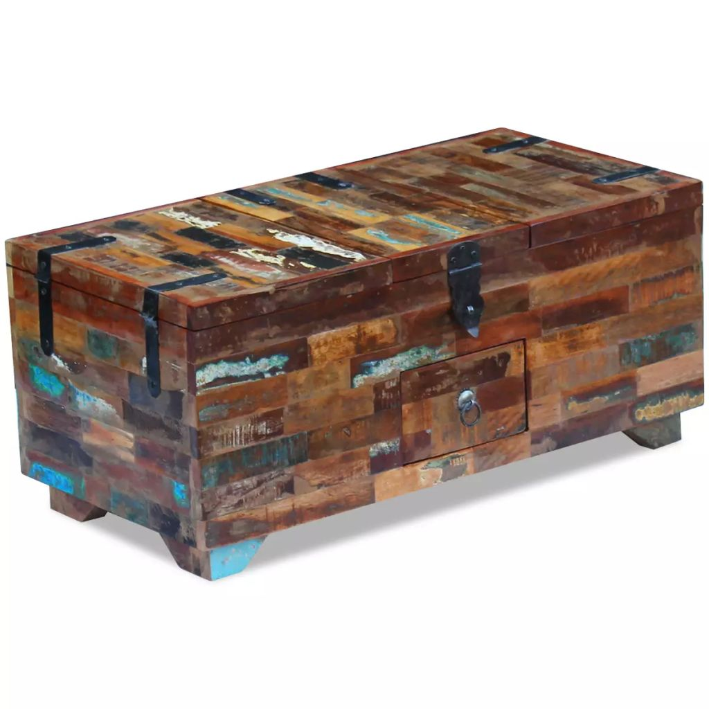 Coffee Table Box Chest Solid Reclaimed Wood 80x40x35 cm 1