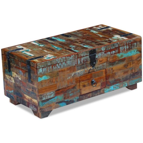 Coffee Table Box Chest Solid Reclaimed Wood 80x40x35 cm 2