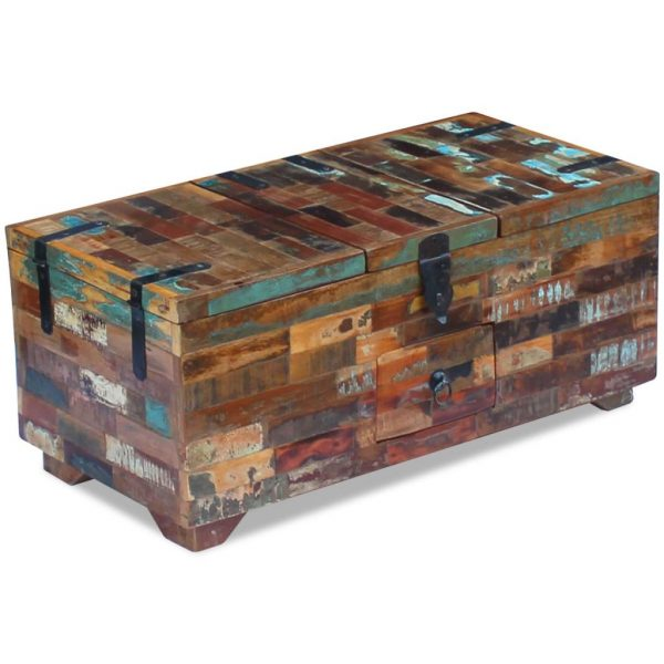 Coffee Table Box Chest Solid Reclaimed Wood 80x40x35 cm 4