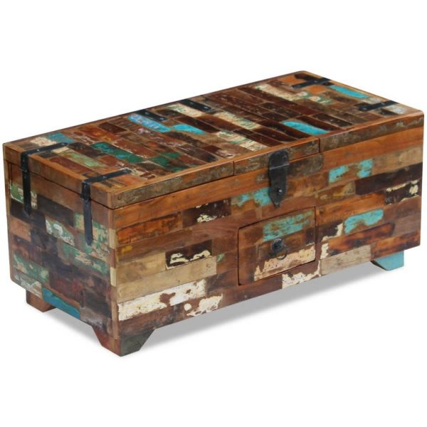Coffee Table Box Chest Solid Reclaimed Wood 80x40x35 cm 5