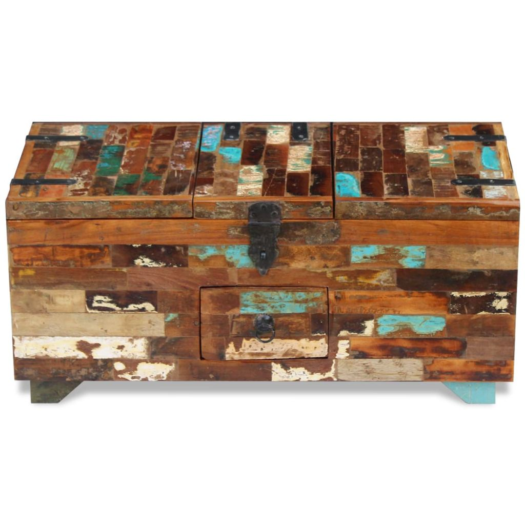 Coffee Table Box Chest Solid Reclaimed Wood 80x40x35 cm 6