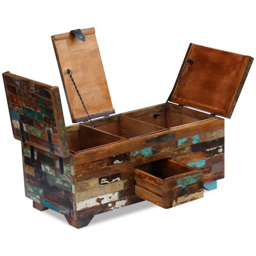 Coffee Table Box Chest Solid Reclaimed Wood 80x40x35 cm 7