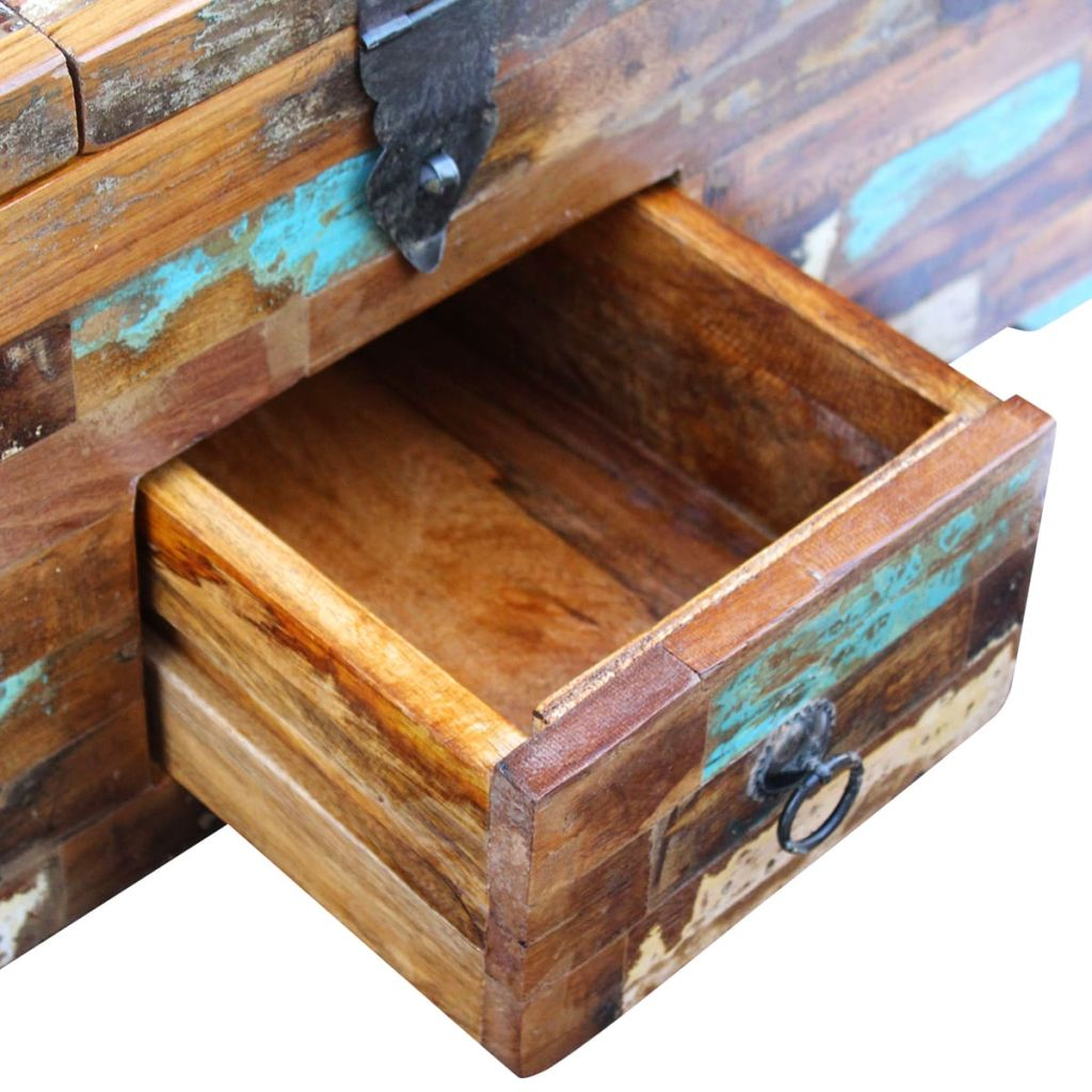 Coffee Table Box Chest Solid Reclaimed Wood 80x40x35 cm 8