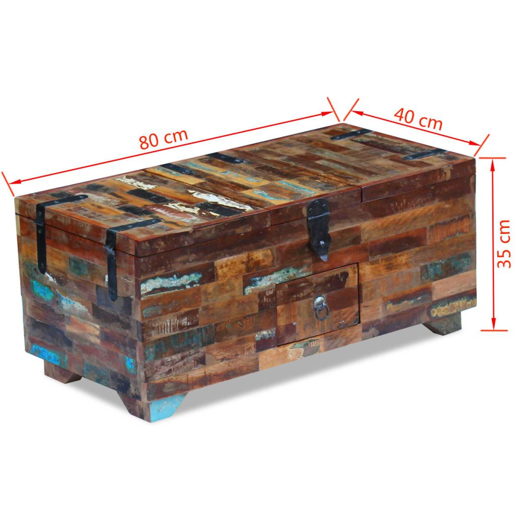 Coffee Table Box Chest Solid Reclaimed Wood 80x40x35 cm 9