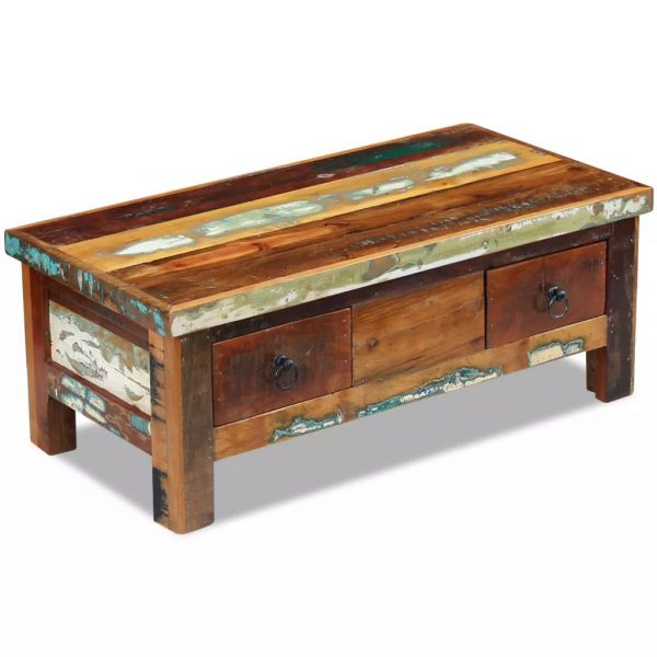 Coffee Table Drawers Solid Reclaimed Wood 90x45x35 cm 1