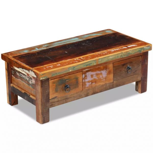 Coffee Table Drawers Solid Reclaimed Wood 90x45x35 cm 2