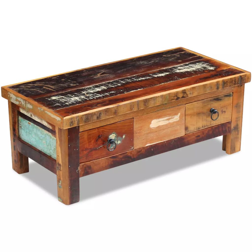 Coffee Table Drawers Solid Reclaimed Wood 90x45x35 cm 3