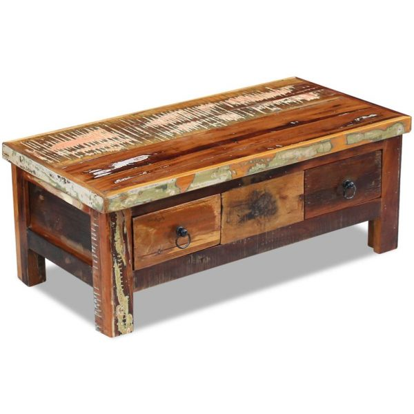 Coffee Table Drawers Solid Reclaimed Wood 90x45x35 cm 5