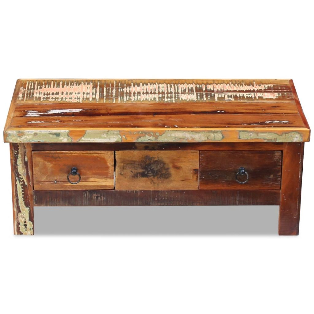 Coffee Table Drawers Solid Reclaimed Wood 90x45x35 cm 6
