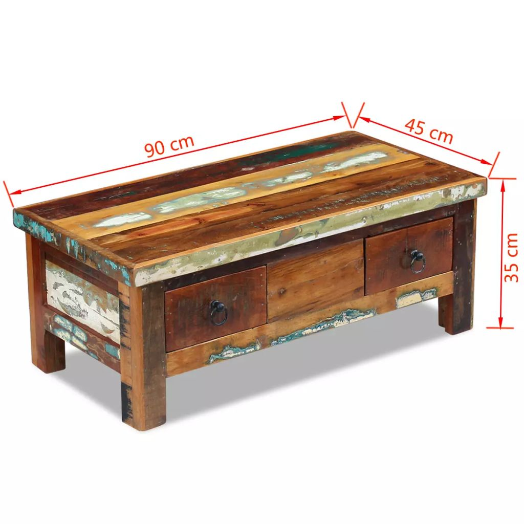 Coffee Table Drawers Solid Reclaimed Wood 90x45x35 cm 8