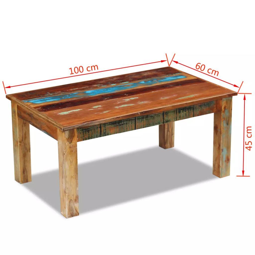 Coffee Table Solid Reclaimed Wood 100x60x45 cm 8