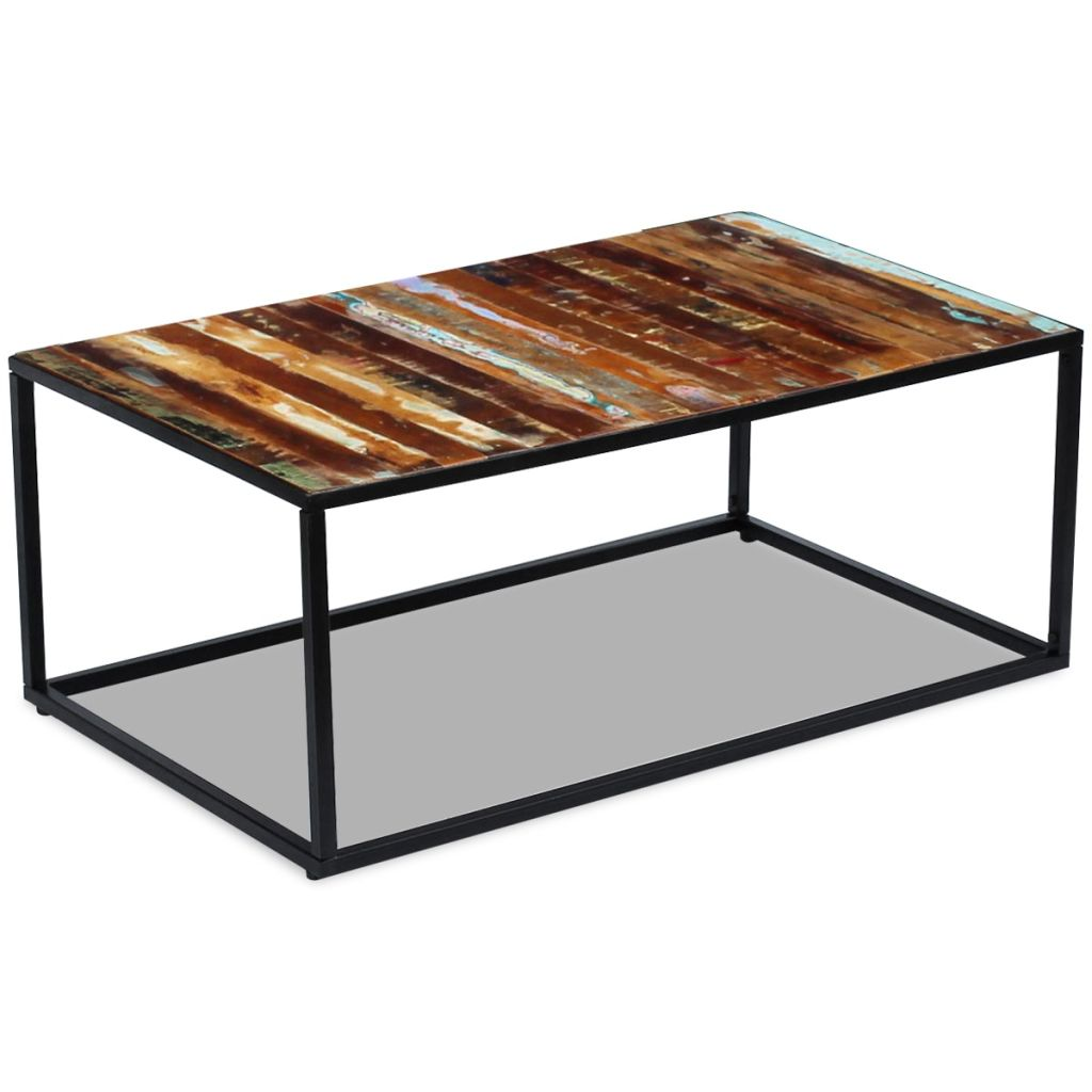 Coffee Table Solid Reclaimed Wood 100x60x40 cm 4