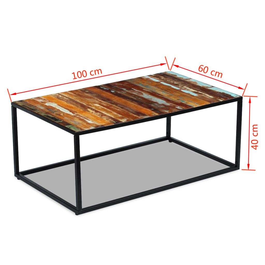 Coffee Table Solid Reclaimed Wood 100x60x40 cm 8