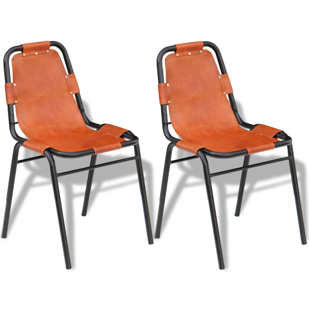 Dining Chairs 2 pcs Brown Real Leather 1