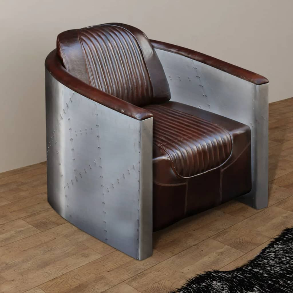 Tub Chair Dark Brown Real Leather