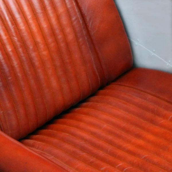 Tub Chair Light Brown Real Leather 3