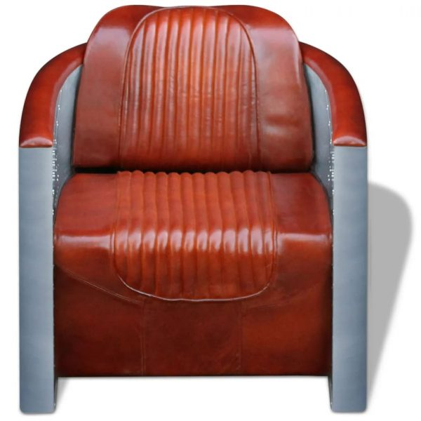 Tub Chair Light Brown Real Leather 4