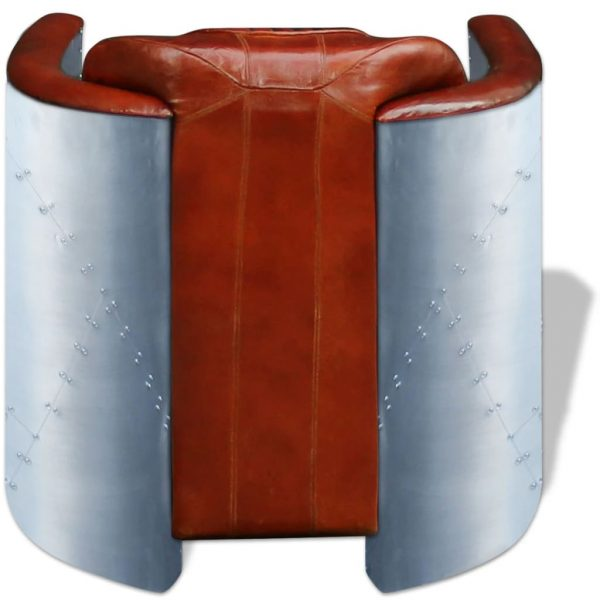 Tub Chair Light Brown Real Leather 5