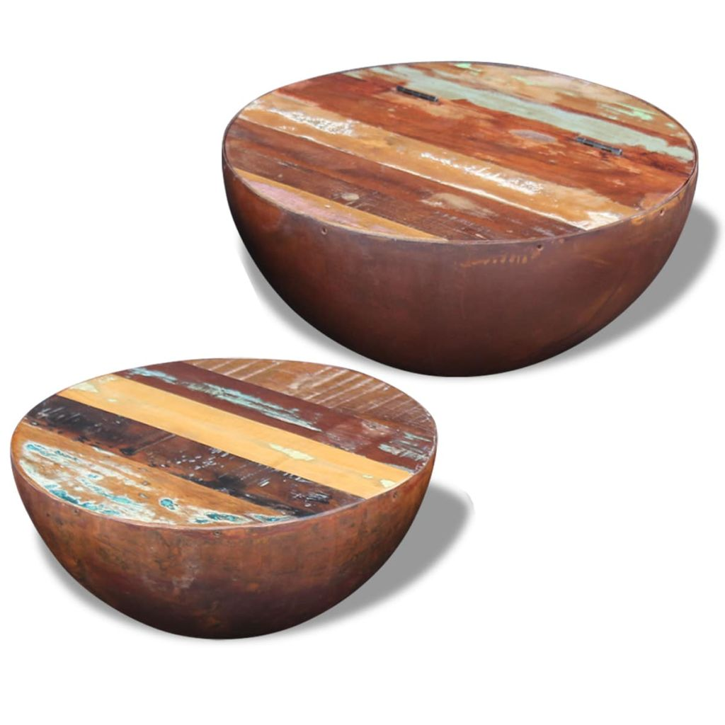 Two Piece Bowl Shaped Coffee Table Set Solid Reclaimed Wood