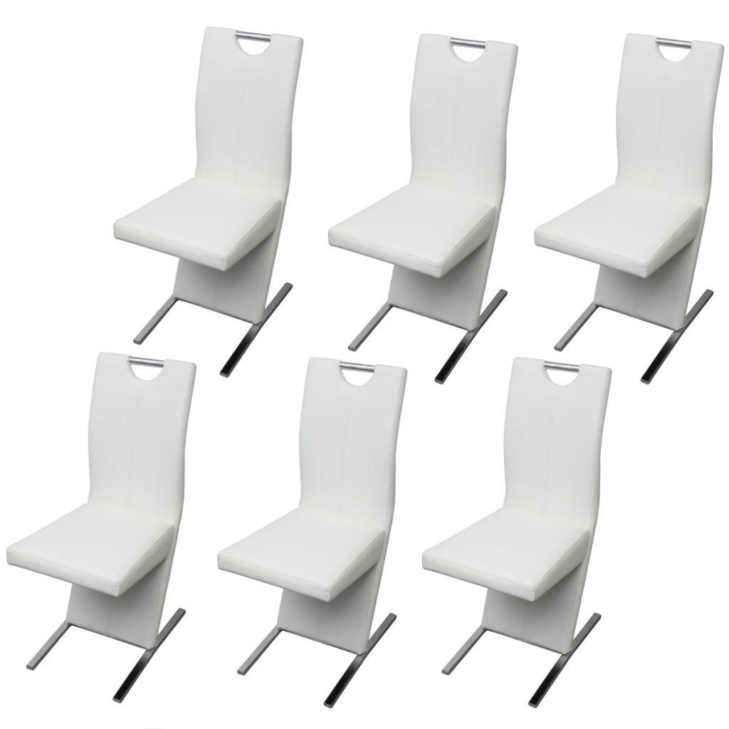 Dining Chairs 6 pcs White Faux Leather 2