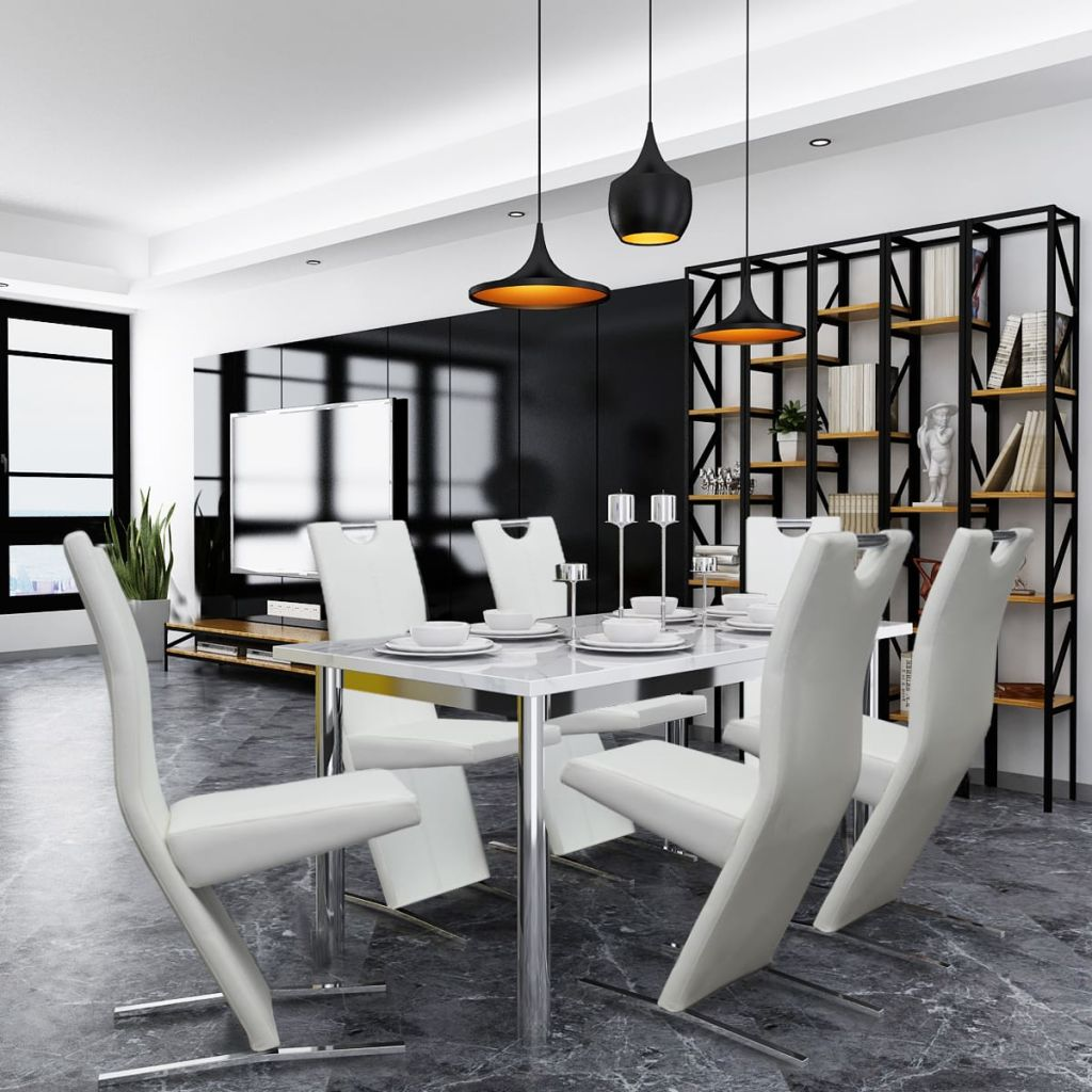 Dining Chairs 6 pcs White Faux Leather 1