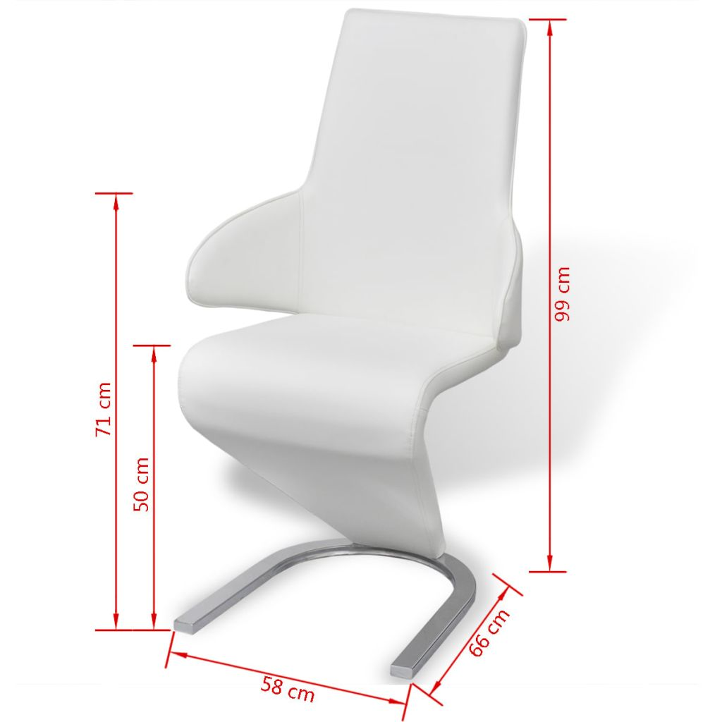 Dining Chairs 6 pcs White Faux Leather 8