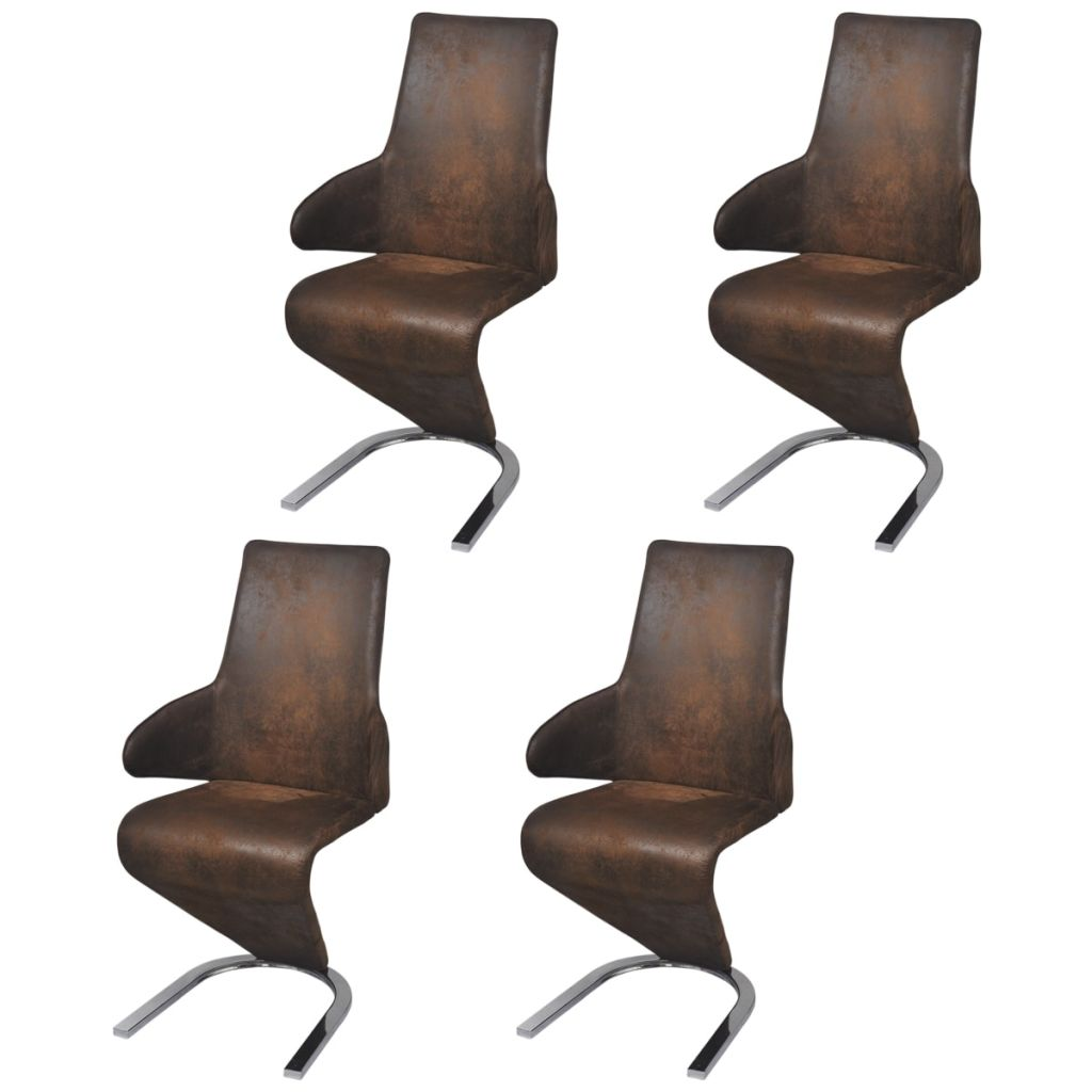 Dining Chairs 4 pcs Brown Fabric 1