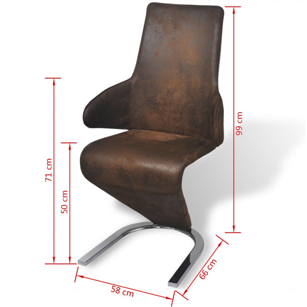 Dining Chairs 4 pcs Brown Fabric 7