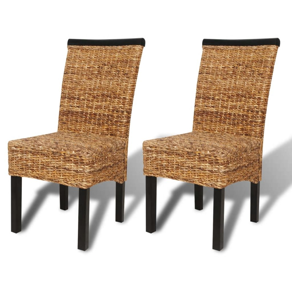 Dining Chairs 2 pcs Abaca and Solid Mango Wood 2