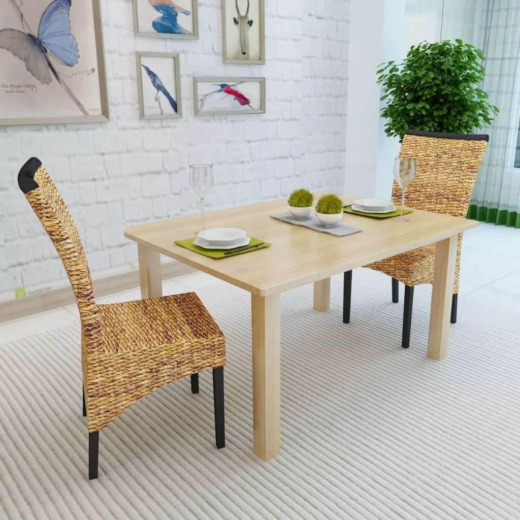 Dining Chairs 2 pcs Abaca and Solid Mango Wood 3
