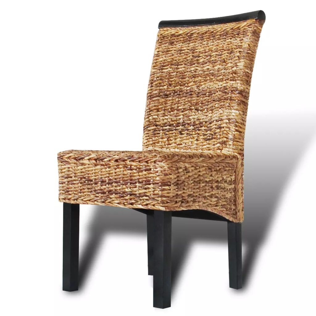 Dining Chairs 2 pcs Abaca and Solid Mango Wood 4