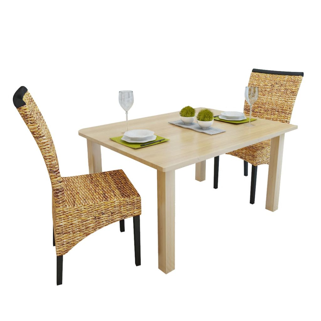 Dining Chairs 2 pcs Abaca and Solid Mango Wood