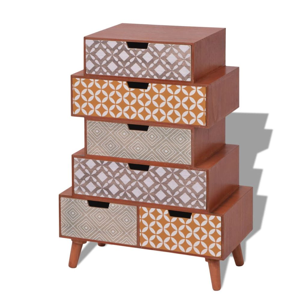 Side Cabinet 6 Drawers Brown 2