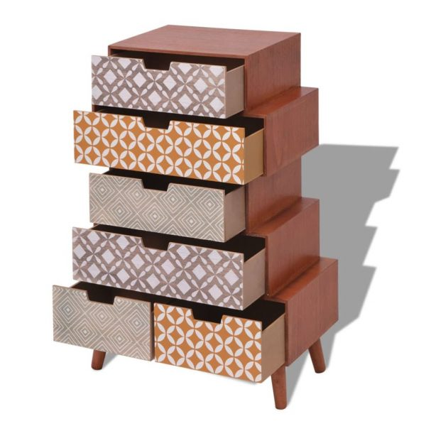 Side Cabinet 6 Drawers Brown 4