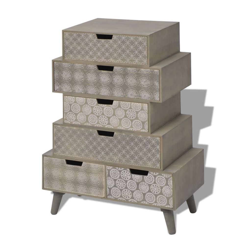 Side Cabinet 6 Drawers Grey 2
