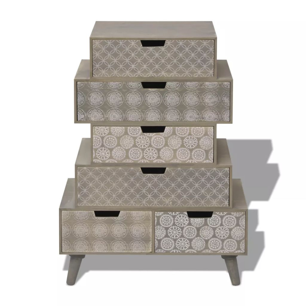 Side Cabinet 6 Drawers Grey 3