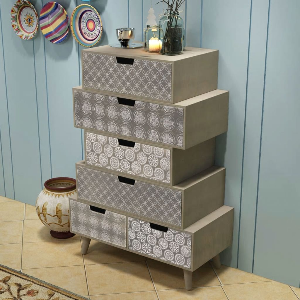 Side Cabinet 6 Drawers Grey 1