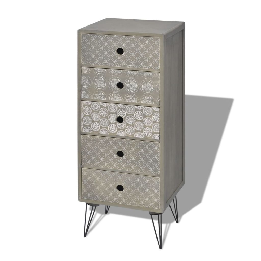 Side Cabinet 5 Drawers Grey 2