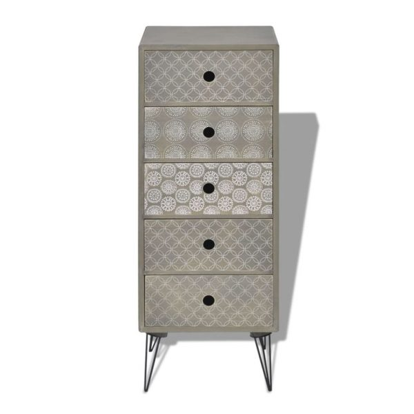 Side Cabinet 5 Drawers Grey 3