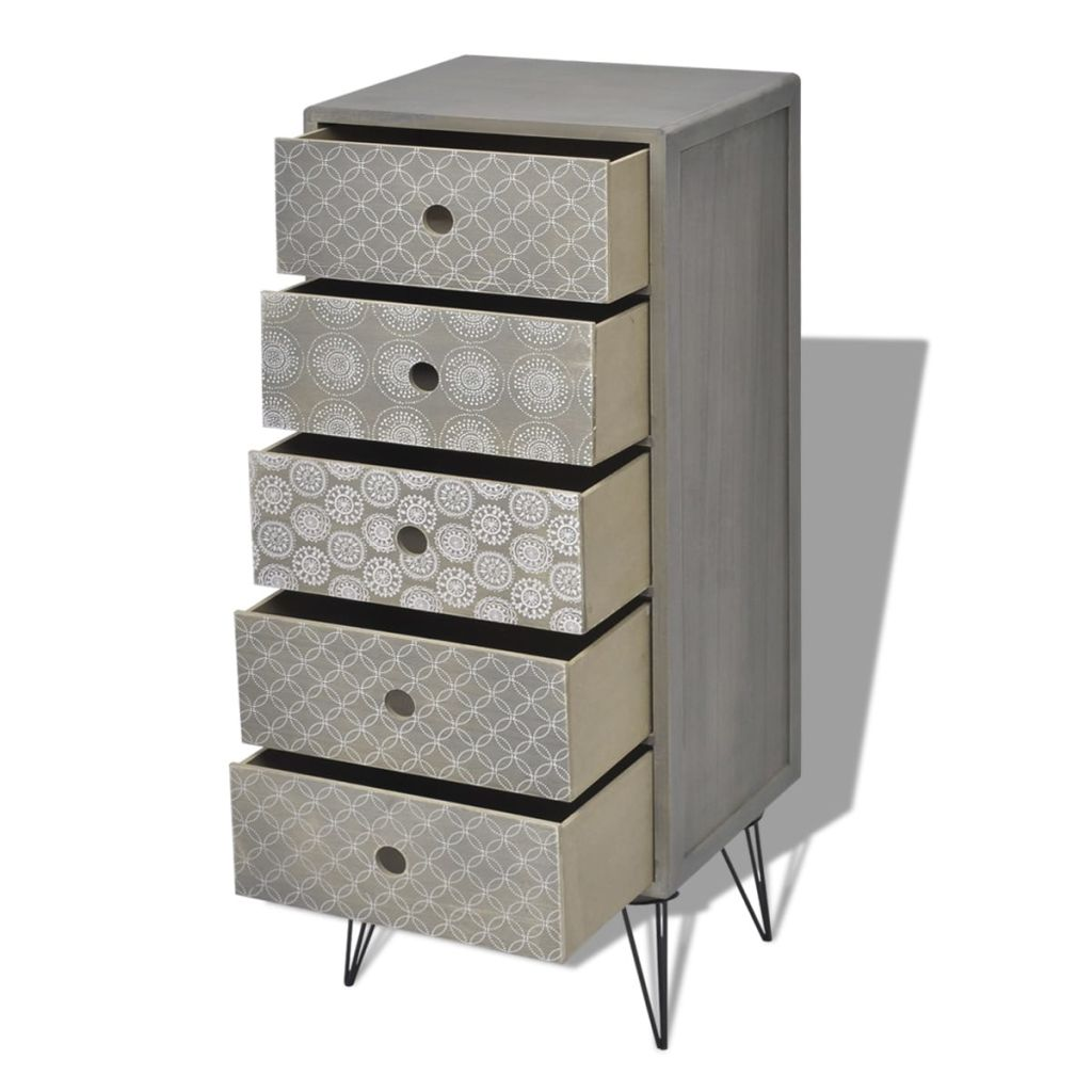 Side Cabinet 5 Drawers Grey 4