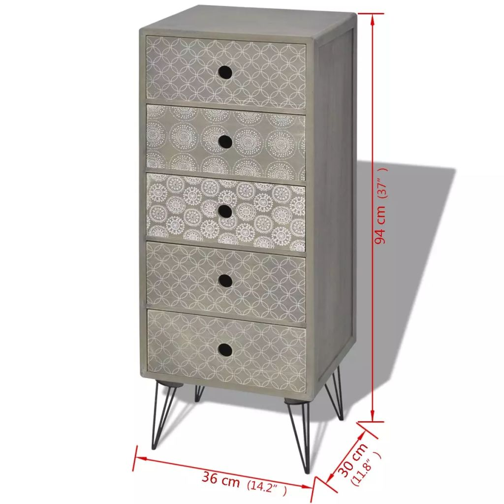 Side Cabinet 5 Drawers Grey 6