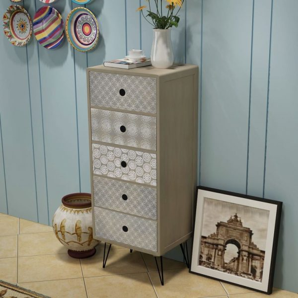 Side Cabinet 5 Drawers Grey 1