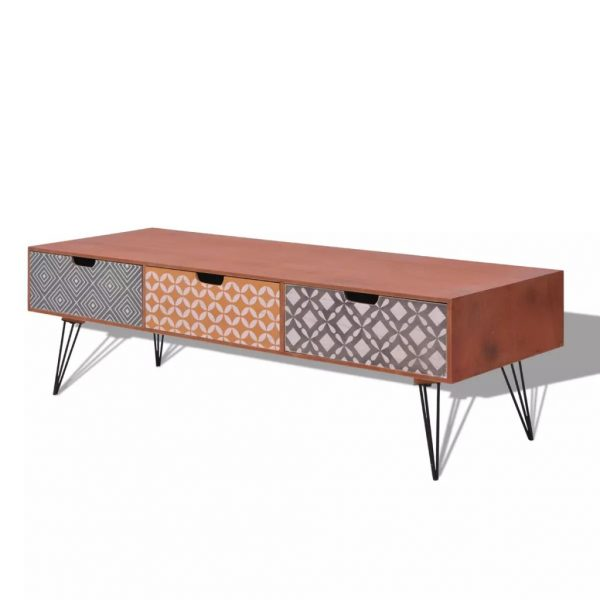 TV Cabinet with 3 Drawers 120x40x36 cm Brown 2