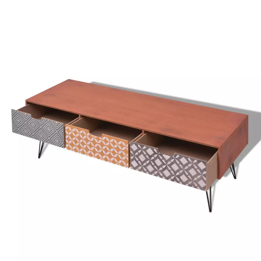 TV Cabinet with 3 Drawers 120x40x36 cm Brown 4